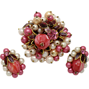 Vintage DeMARIO NY Faux Pearl Art Glass Flower Brooch Earring Set