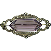 935 Sterling Silver ART DECO  Amethyst Glass Marcasite Brooch Pin