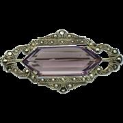 935 Sterling Silver ART DECO  Amethyst Glass Marcasite Brooch Pin