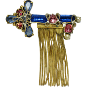 ORIGINAL BY ROBERT  Rhinestone Key Gold Plated Tassle Brooch-Pin