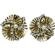 JOMAZ Mazer Rhinestone Pearl  Swirled Earrings