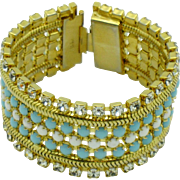 HOBE Vintage Bracelet 5 Row Glass Beaded Rhinestone Gold Plated