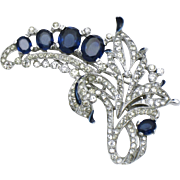 TRIFARI Philippe Fur Clip Pin Sapphire Blue Crystal Rhinestone Vintage 1940