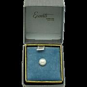 Mint 14K Yellow Gold 8mm Cultured Pearl Men's Tie Tack ORIGINAL BOX