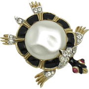 CROWN TRIFARI Alfred Philippe Ming Turtle Brooch Pin 1960s