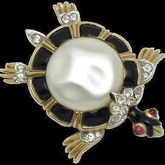 CROWN TRIFARI Alfred Philippe Ming Turtle Brooch Pin 1960s