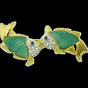 Vintage KJL Kenneth Jay Lane Lucite  Kissing Fish Brooch Pin