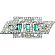 ART DECO Emerald Paste  Duette And Brooch Combintation RARE 1930s