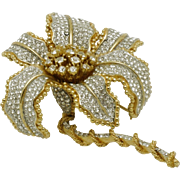 Magnificent  CINER Flower Figural Brooch Pin Gold Plated Crystal Rhinestone 4""