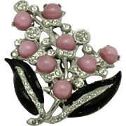 Art Deco Pink Moonstone Crystal Paste Enamel Dress Clip Pin