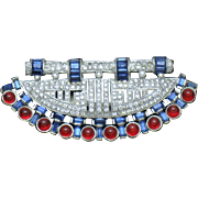 "ART DECO 1930s Ruby Sapphire Rhinestone Cabochon Dress Clip Pin 3.5"" Wide - Gorgeous"