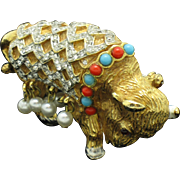 KJL Vintage 1960s Kenneth Jay Lane Fantasy Buffalo Figural Brooch Pin