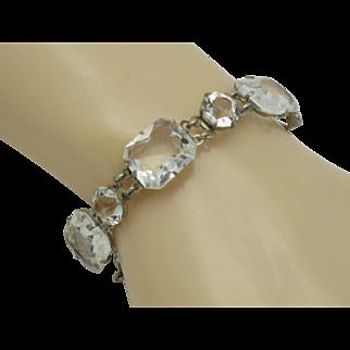 Sterling Silver Rock Quartz Crystal ART DECO Link Bracelet