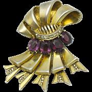 1940's Signed DeROSA De Rosa STERLING Vermeil Amethyst Rhinestone Fur Clip Pin