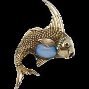 Rare CINER STERLING  Moonstone Fish Figural Brooch Pin