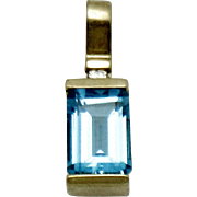 Vintage European 14K Yellow Gold Blue Topaz and Diamond Pendant