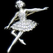 Rare MAZER STERLING Rhinestone Ballerina Dancer Pin Brooch