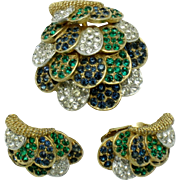 Scarce BOUCHER Seashell Emerald Rhinestone Brooch Earring SET
