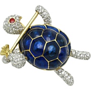 CINER  Figural Brooch Rhinestone Blue Enamel Rhinestone Hobo Turtle Pin
