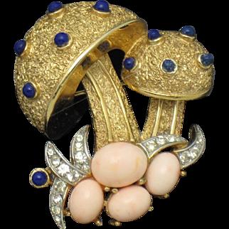 TRIFARI Vintage Rhinestone Cabochon Toadstool Mushroom Figural Pin Brooch
