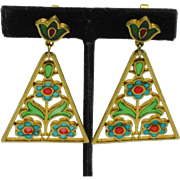 CROWN TRIFARI  Stained Glass Plique a Jour Dangle Earrings
