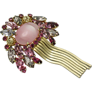 Gorgeous Pink Cabochon  Crystal Rhinestone Gold Plated Tassel Brooch Pin
