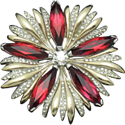 Hard to Find HALBE Siam Red Crystal Rhinestone Snowflake Pin Brooch