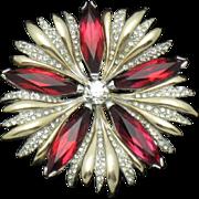 Hard to Find HALBE Siam Red Crystal Rhinestone Snowflake Pin Brooch