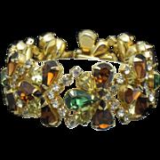 HOBE 1957 Vintage Bracelet Gold Plated Crystal Rhinestone
