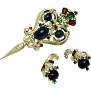 1948 CROWN TRIFARI Sterling Alfred Philippe Sapphire Talisman Fur Clip Brooch Earrings