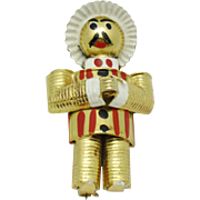 Vintage Enamel Gold Plated Mexican Man Figural Brooch Book Piece Designer