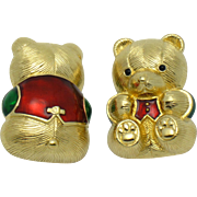 Vintage 1980s JUDITH LEIBER 24k Gold Plated Rhinestone Enamel Bear Pins