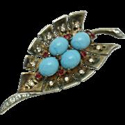 Sterling Vermeil CROWN TRIFARI Alfred Philippe 1946 Fur Clip Pin Cabochon Rhinestone Gold Plated