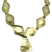 KJL - Kenneth Jay Lane Hammered Gold Plated Couture Necklace