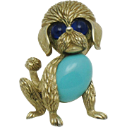 TRIFARI Figural Poodle Dog Turquoise Glass Belly Brooch Pin