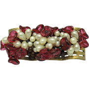 Vintage French Louis Rousselet Poured Glass & Glass Pearl Flower Pin Brooch