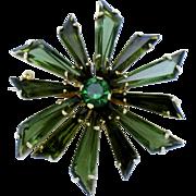 Vintage Made in Austria Keystone Rhinestone Pinwheel Pin Brooch