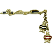 TRIFARI  Gold Plated Enamel Fishing Pole With Fish Vintage Brooch Pin