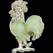 Vintage HATTIE CARNEGIE Green Lucite Rhinestone Rooster Figural Brooch Pin