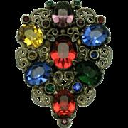 Vibrant ART DECO Crystal Rhinestone Filigree Dress Clip