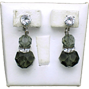 Vintage CASTLECLIFF  Crystal Drop Dangle Rhinestone Clip Earrings
