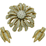 Signed CINER Rhinestone Gold Plated Stacked Flower Brooch & Earrings SET