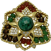 Gorgeous Vintage CINER Cabochon Rhinestone Brooch and Pendant