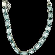 LEACH & MILLER Sterling Silver Art Deco Aqua Crystal Link Bracelet Signed - Red Tag Sale Item