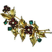 Rare TRIFARI STERLING  Ruby Emerald Crystal Floral  Brooch Pin Clip