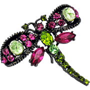 THELMA DEUTSCH  Vibrant Crystal Rhinestone Art Glass Figural Dragonfly Pin