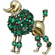Vintage 1950 TRIFARI Philippe Jeweled Symphony Poodle Figural Brooch Pin