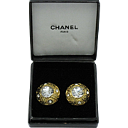 CHANEL France French Crystal  Button Clip Earrings Vintage Gold Plated