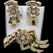 Vintage BUGSBEE NILES - BN Rose GP Brooch Pendant Earring Set