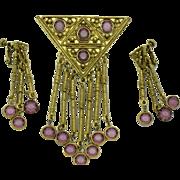 GOLDETTE Purple Crystal Dangle Brooch & Earrings Set